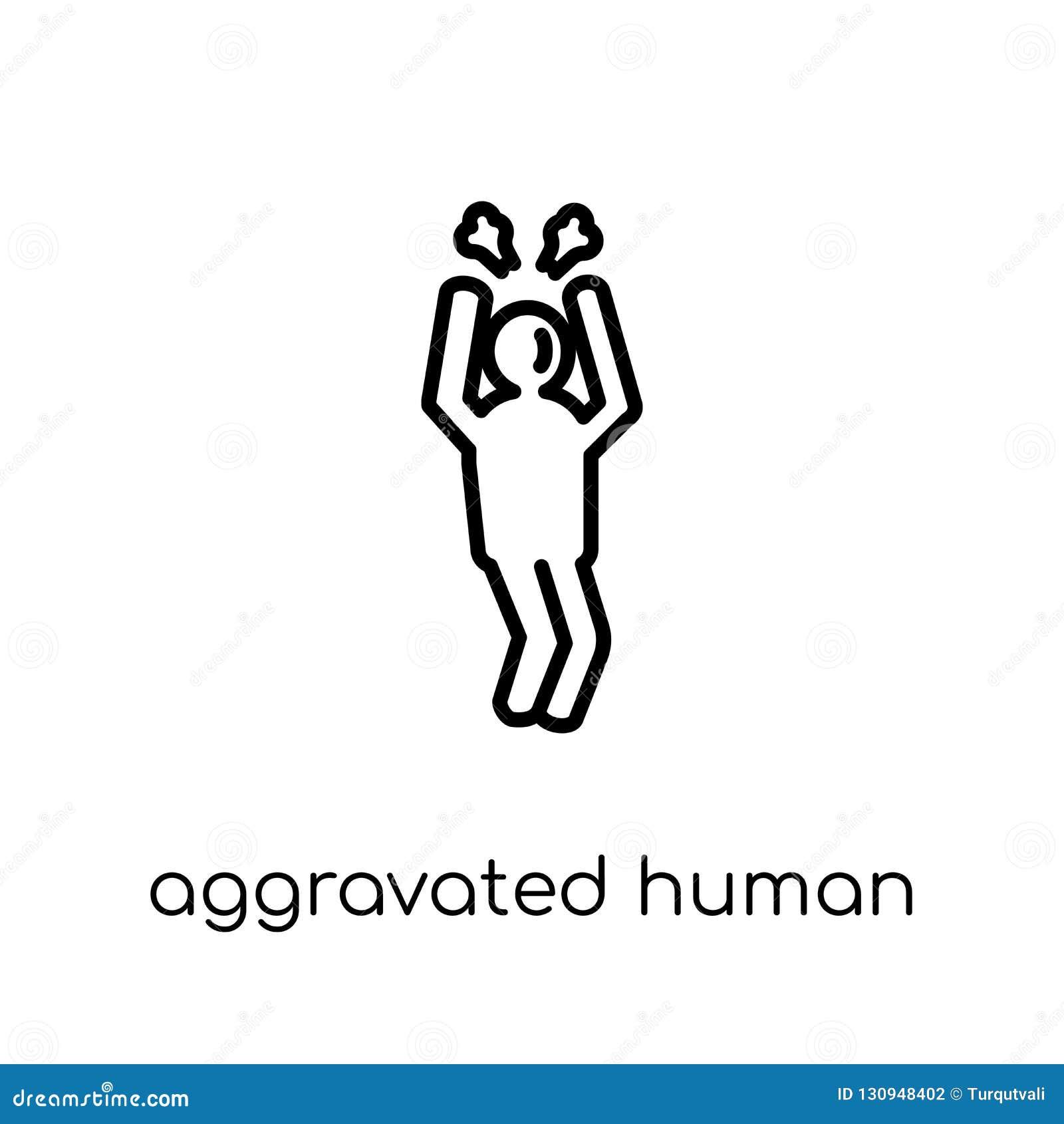 Förvärrad mänsklig symbol Moderiktig modern plan linjär vektoraggravat
