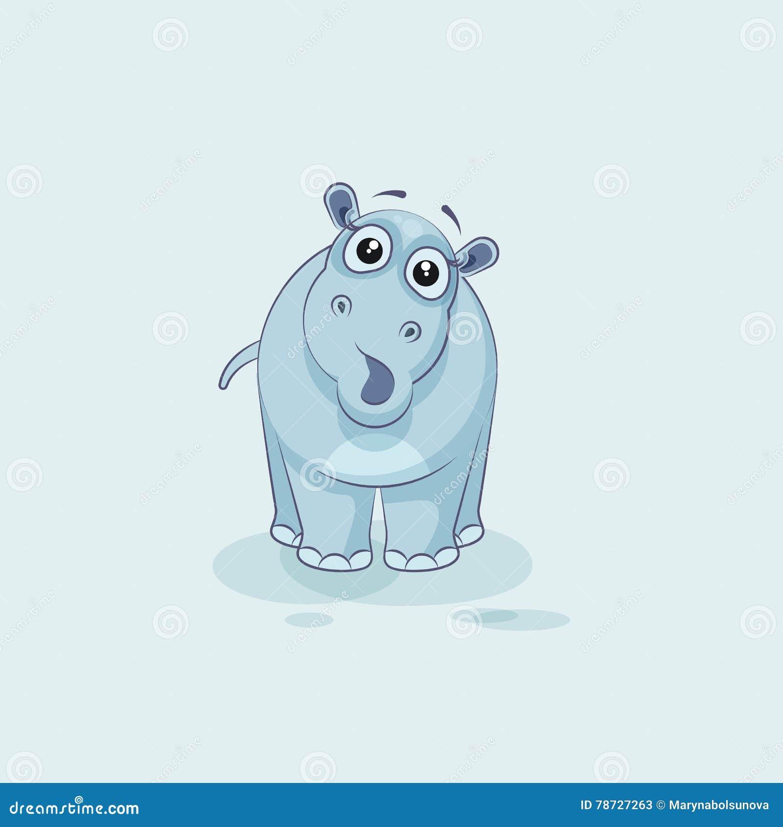 Förvånad flodhäst för Emoji teckentecknad film