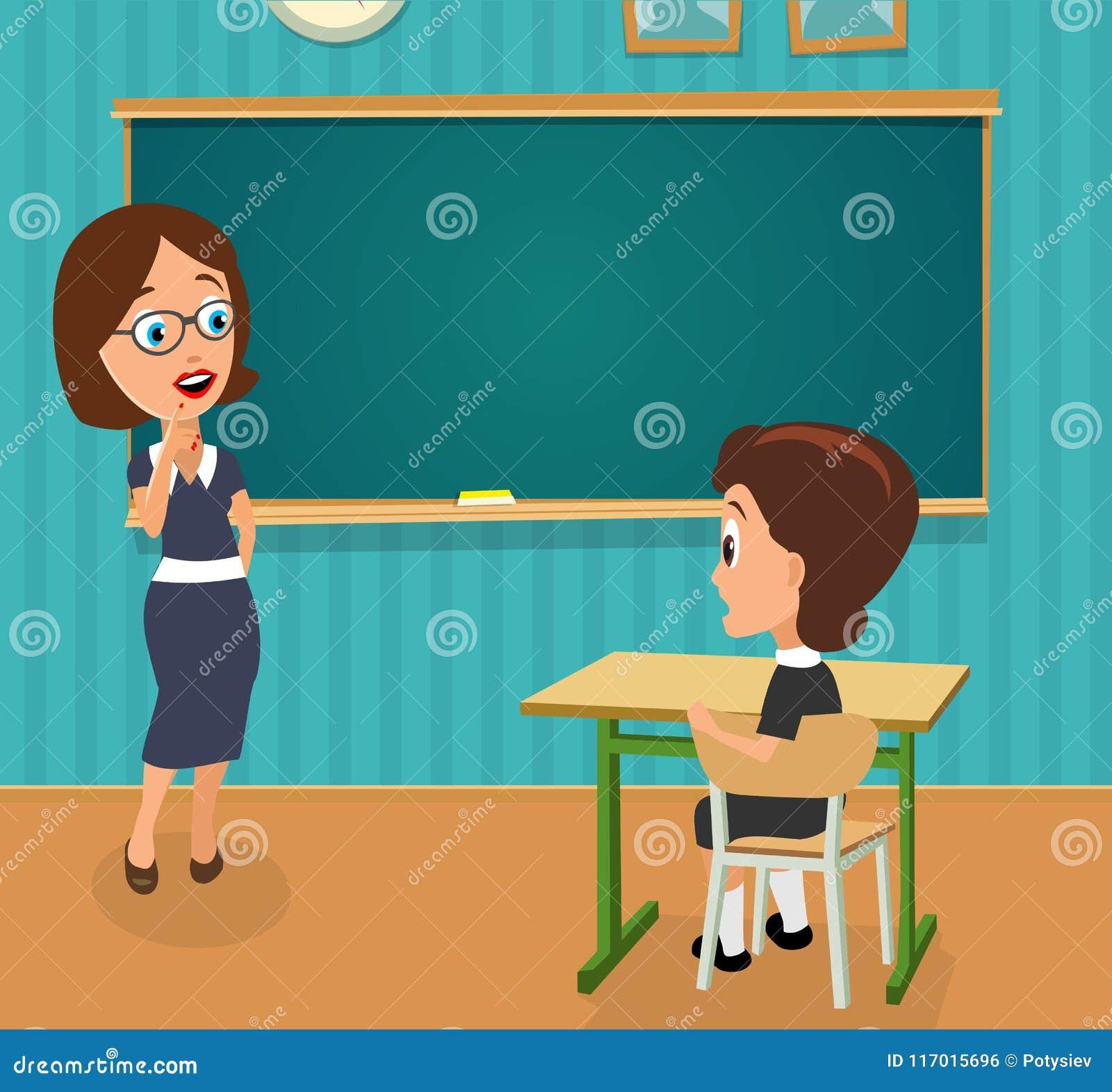 Förvånad lärare med öppet halva-vänt mun- och skolflickasammanträde på ett skrivbord som vänder