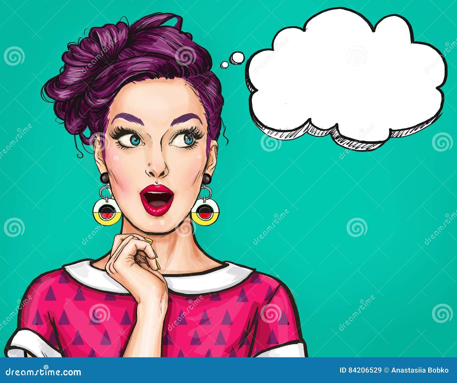 Förvånad ung sexig kvinna med den öppna munnen Komisk kvinna Häpna kvinnor Flicka för popkonst