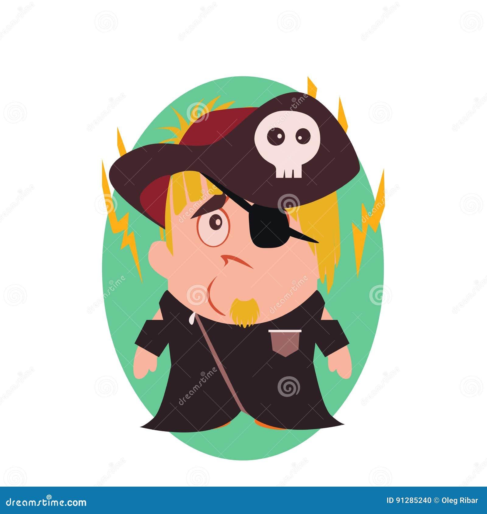 Förvirrat, ledset och olyckligt piratkopiera - den roliga avataren av lilla Person Cartoon Character i plan vektor