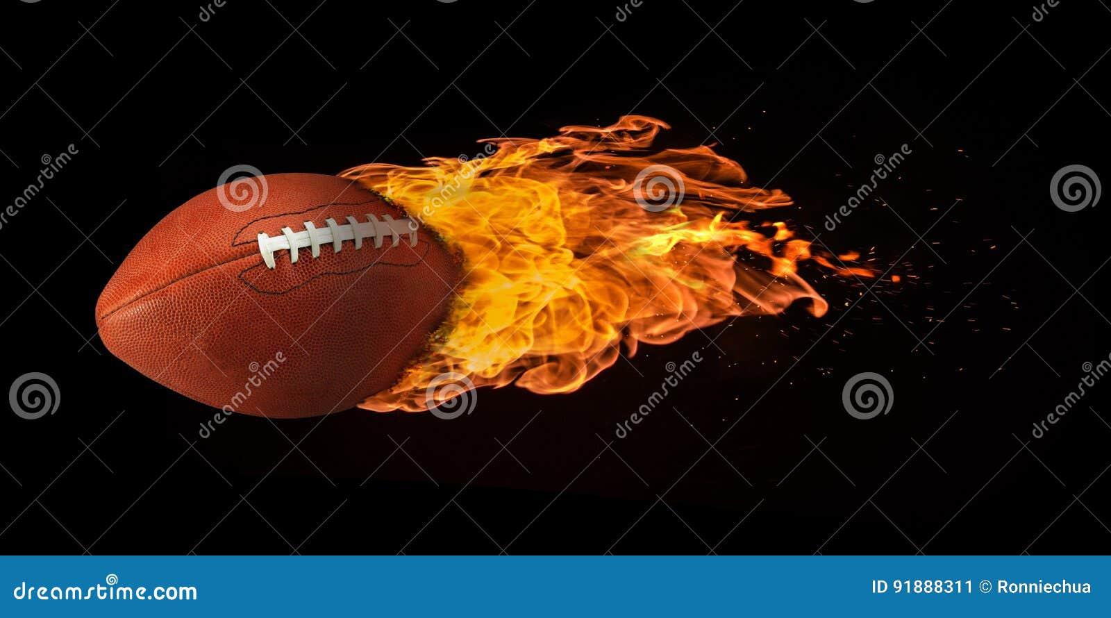 Fútbol del vuelo engullido en llamas