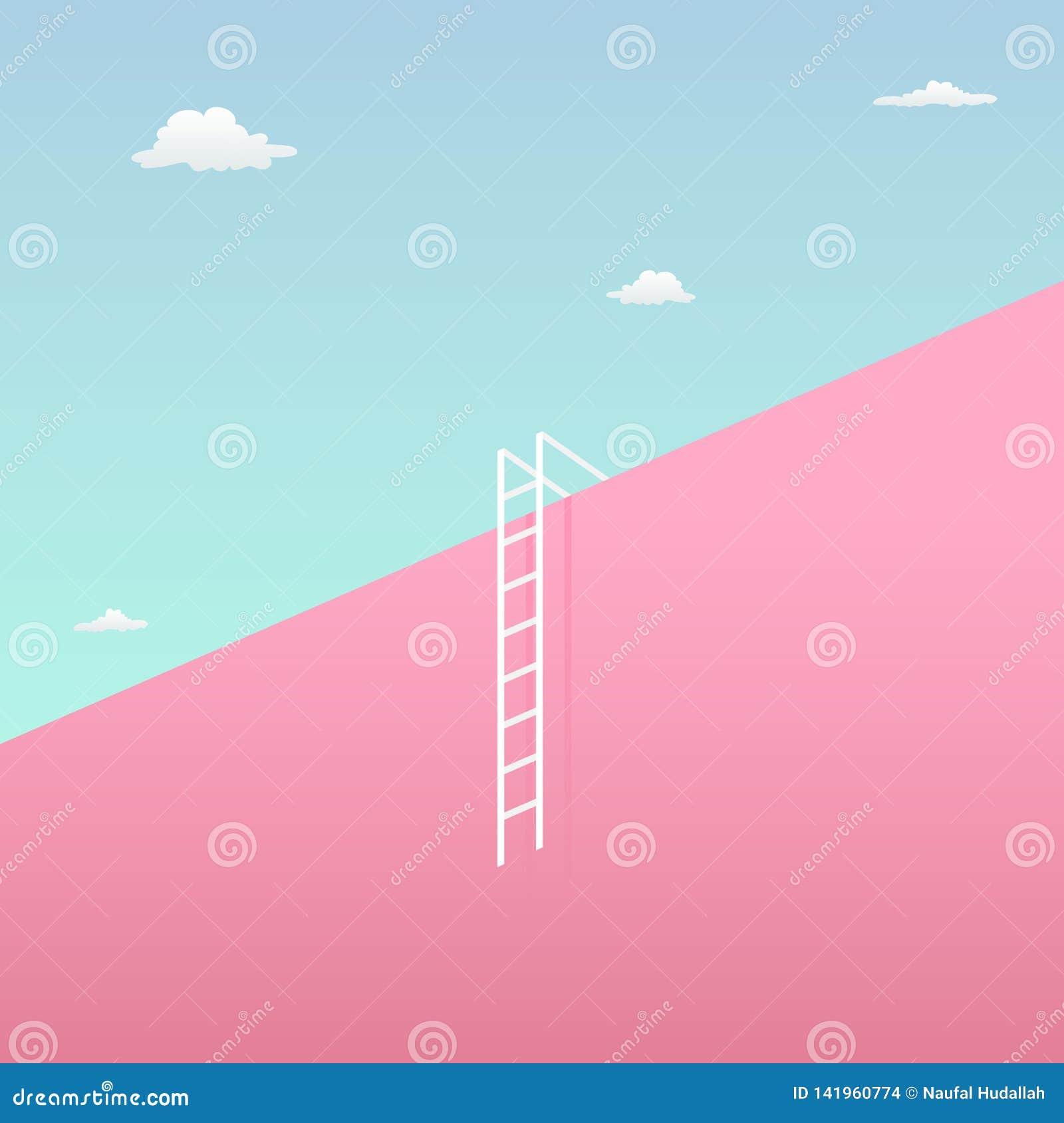 Führen Sie die Herausforderung, um das Zielsichtkonzept mit unbedeutendem Kunstentwurf zu erreichen hohe riesige Wand in Richtung
