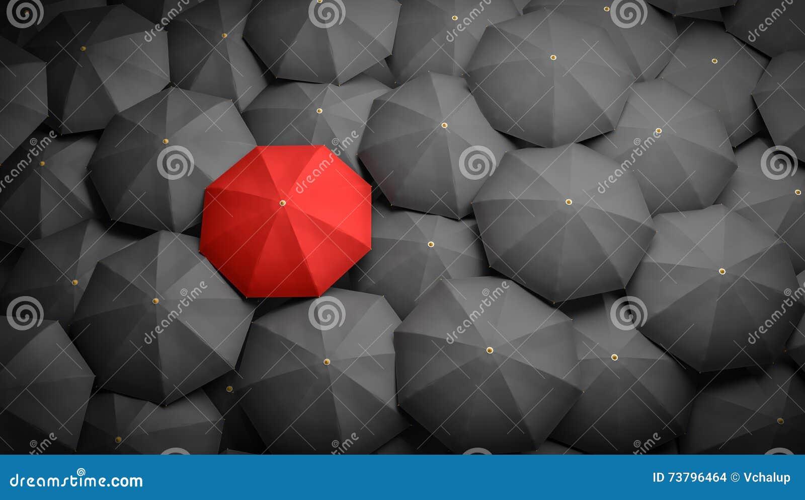 Führung oder Unterscheidungskonzept Roter Regenschirm und viele schwarzen Regenschirme herum 3D übertrug Abbildung