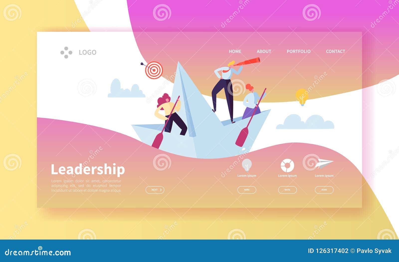 Führungs-Konzept-Landungs-Seiten-Schablone Website-Plan mit flachen Leute-Charakteren mit Fernglas auf Papierschiffen