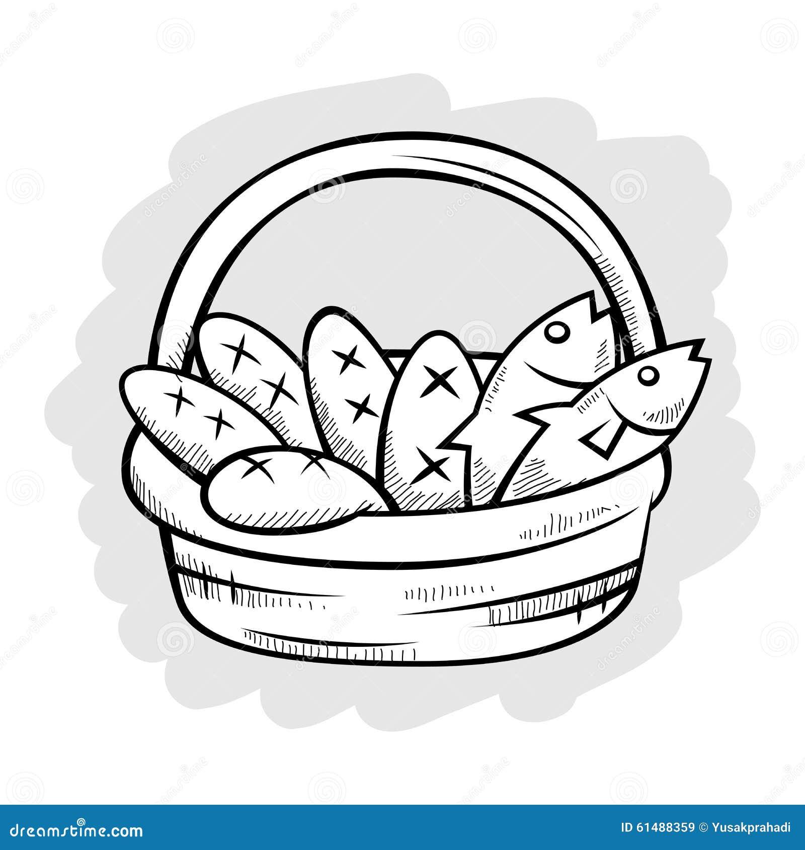 Fünf Brot Und Zwei Fische In Einer Korb-Linie Kunst Vektor