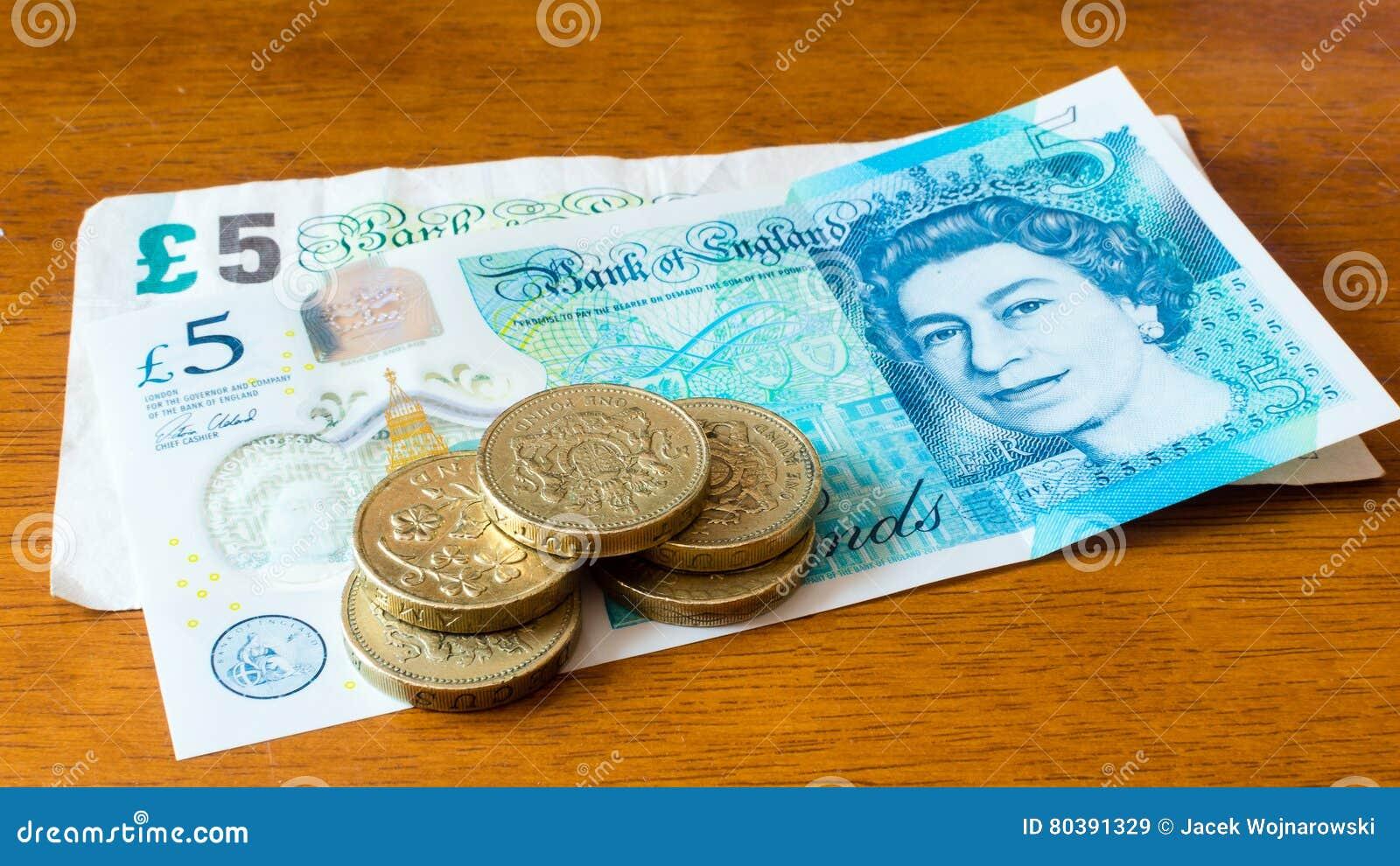 Fünf Ein Pfund Münzen Neue 5 Pfund Anmerkungen Und Alte