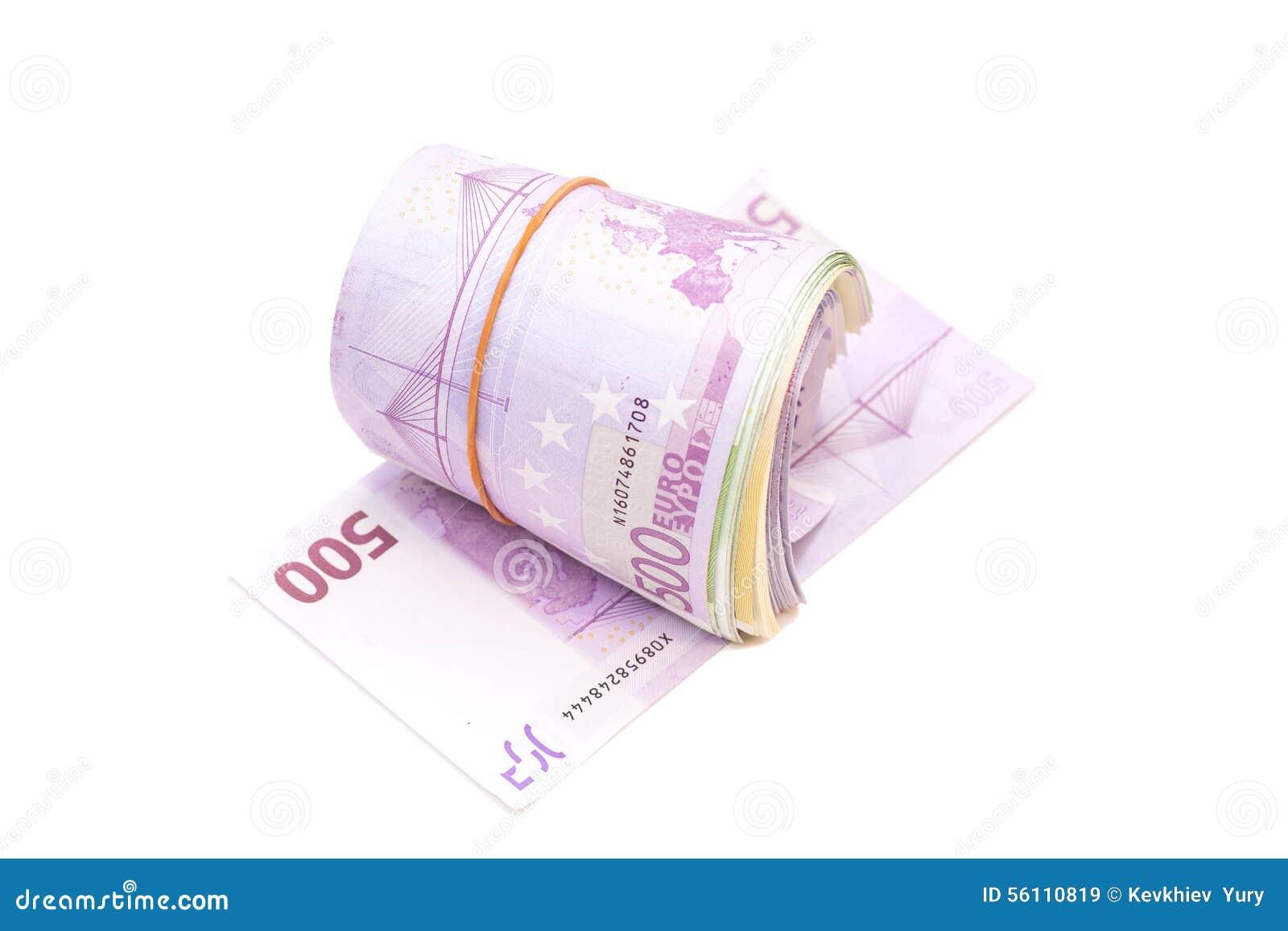 Fünf Hundertstel Banknoten unter Gummiband