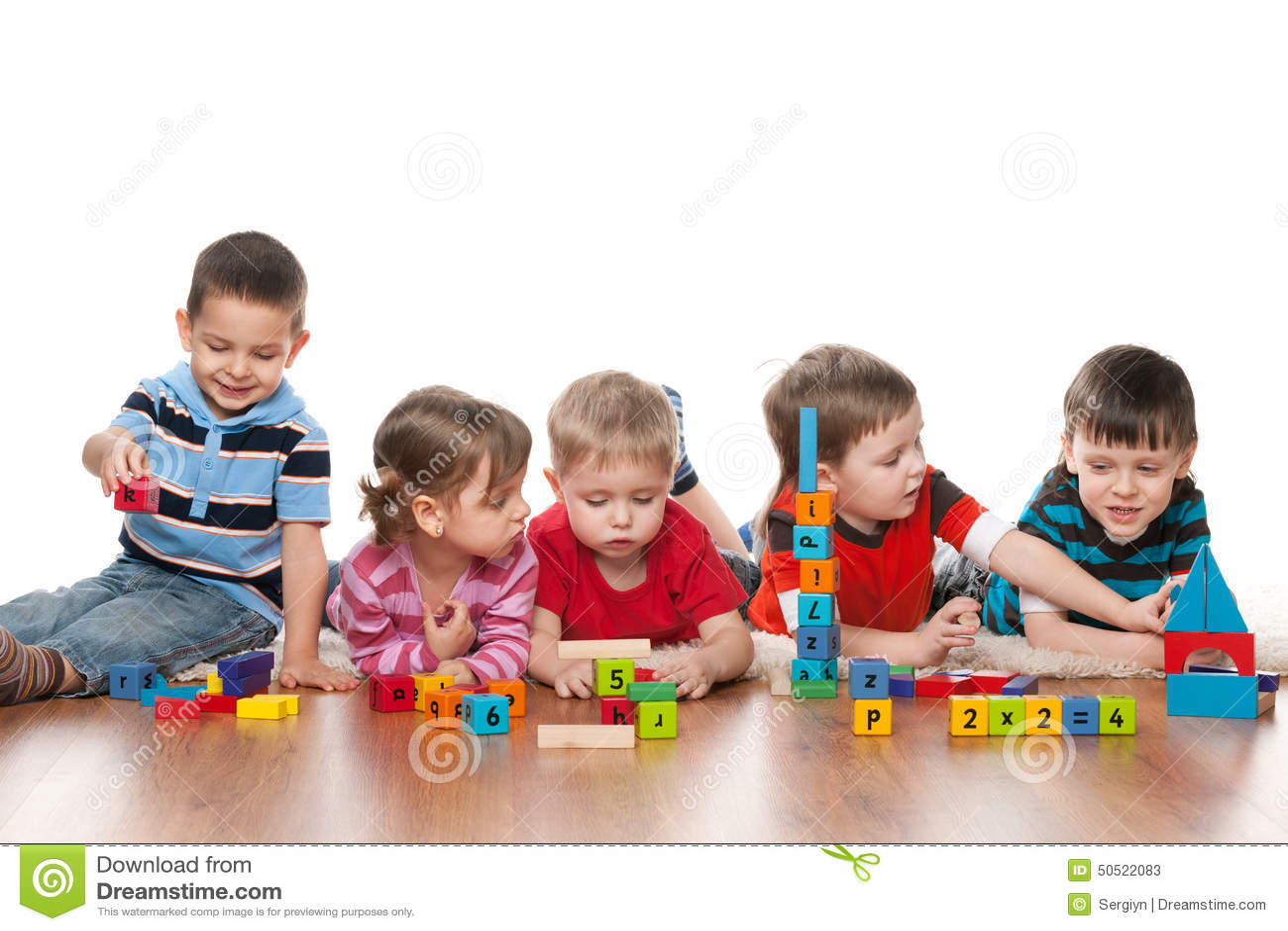 Fünf Kinder Im Kindergarten Stockbild - Bild von mädchen, lernen ...