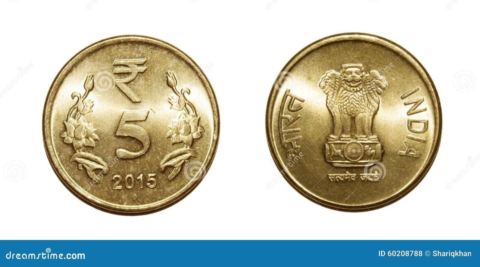 Fünf Rupien Der Münzen Indien Stockfoto Bild Von Wachstum Zentral