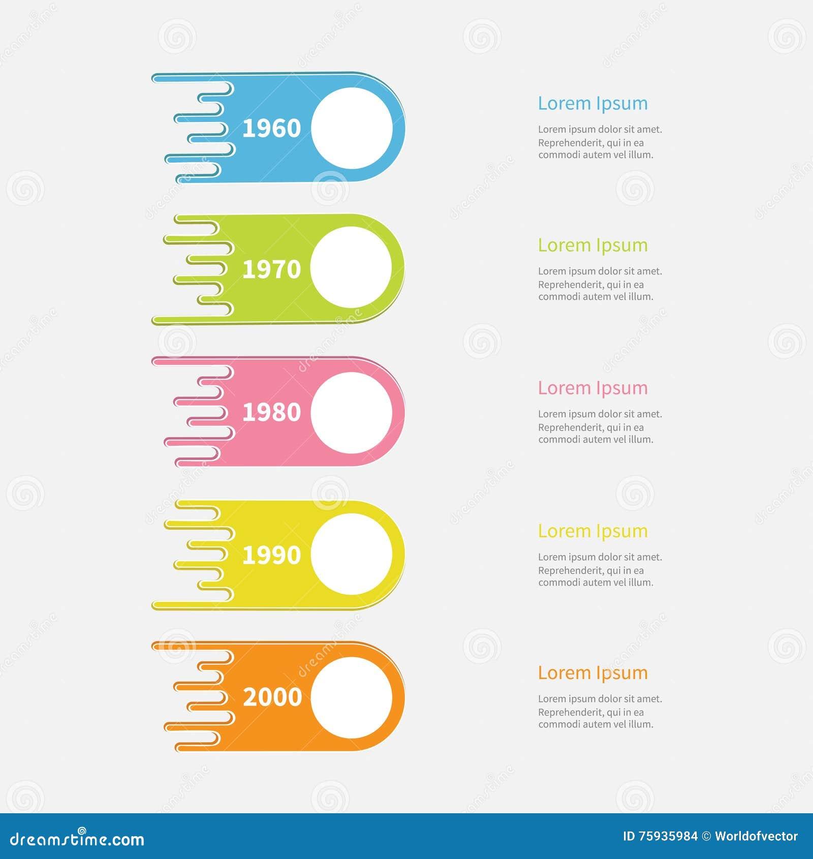 Fünf Schritt Zeitachse Infographic Vertikale Bunte Kometenform Mit ...