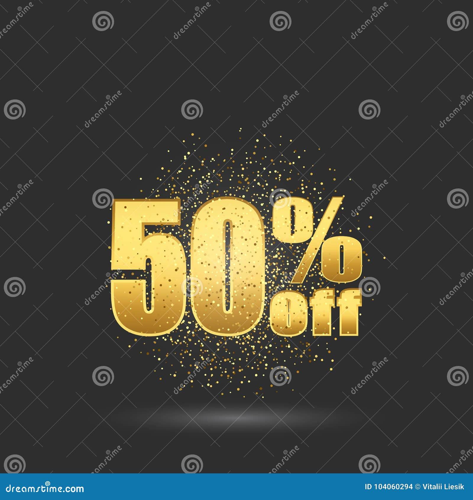 Fünfzig-Prozent-Rabatt Goldfunkelnpartikel auf den goldenen Zahlen des Hintergrundes