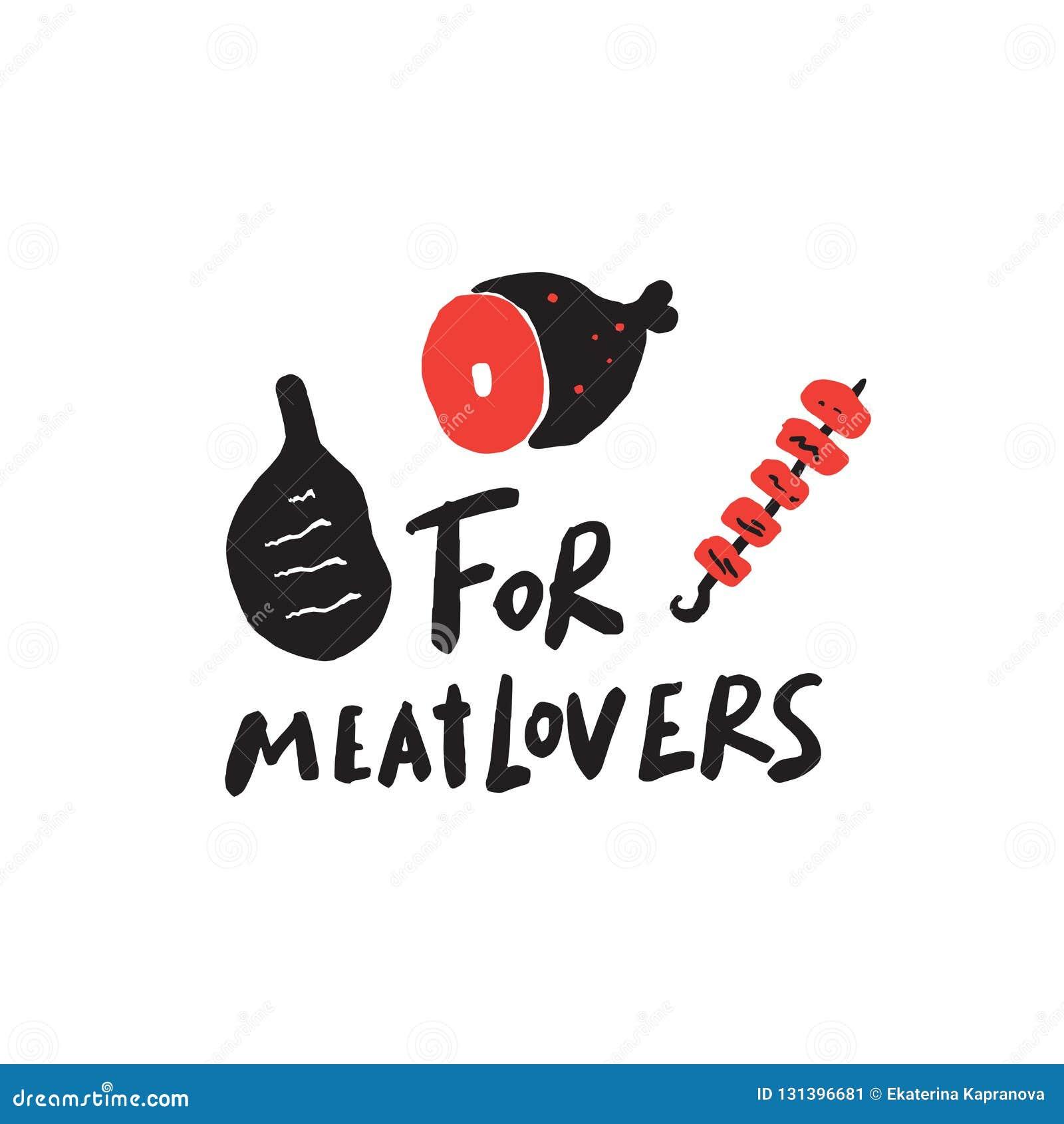 Für meatlovers Lustiges Sprechen Hand schriftliche Beschriftung ENV 10
