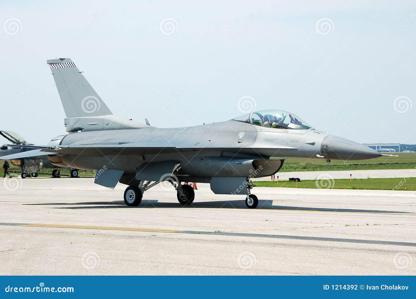 F-16 Fighter jet stock photo  Image of runway, pilot, escort
