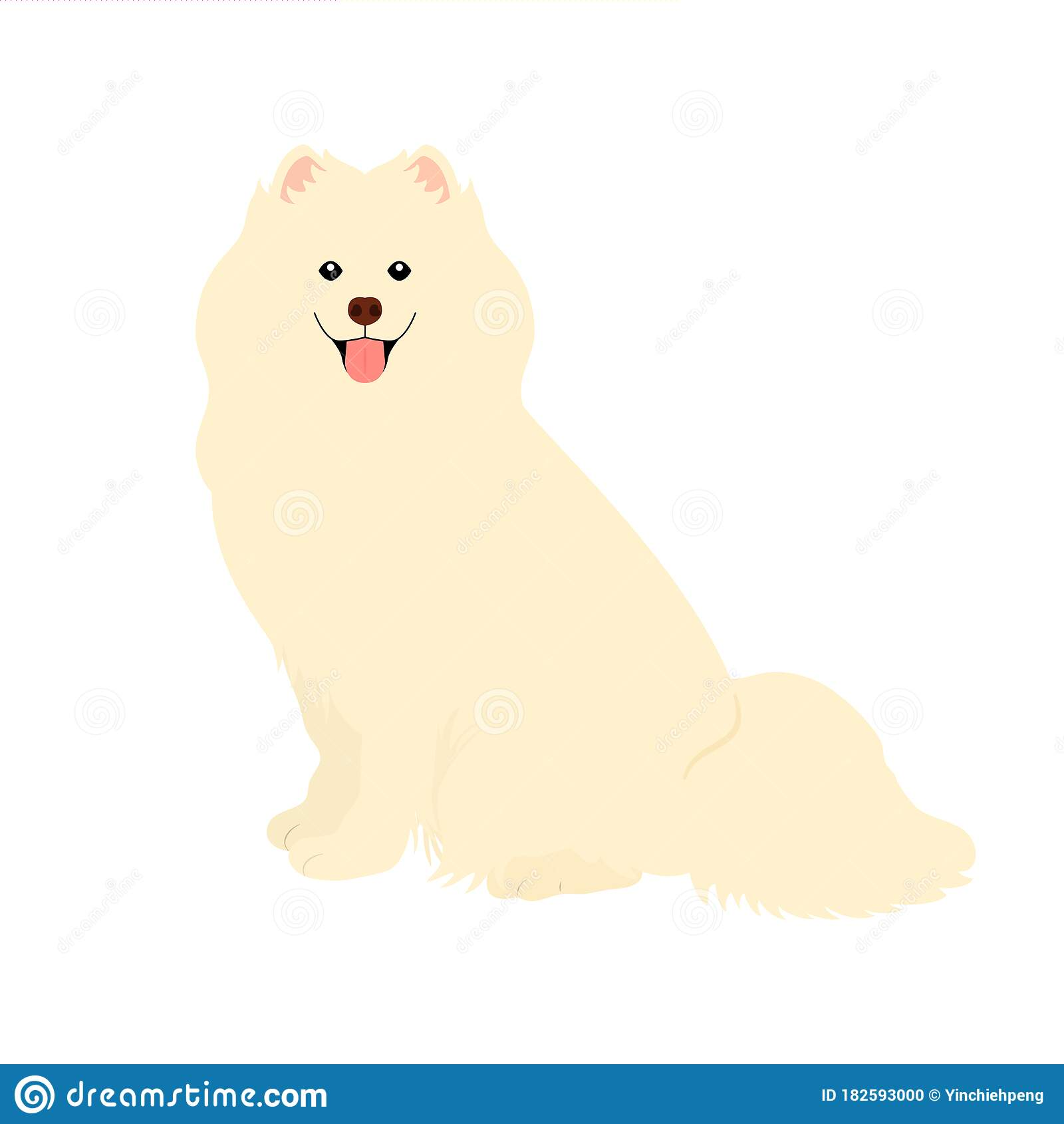 Samoyed Dog Isolated On White Background Cartoon Dog Puppy Icon Vector Hand Drawn Childish Vector Illustration Great For Icon Stock Vector Illustration Of Funny Cartoon 182593000