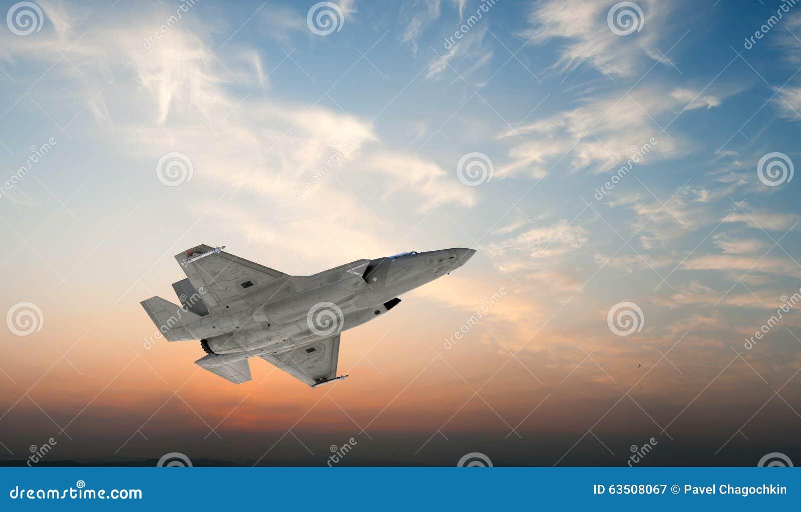 F 35, aereo di combattimento militare americano Jet Plane Mosca in nuvole