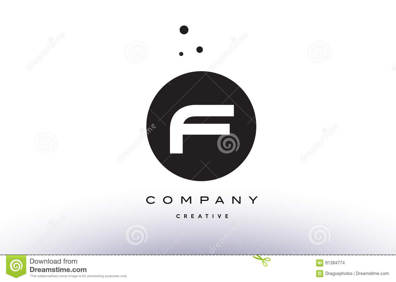 F Alphabet Letter Logo Icon Simple Black White Circle Dots Stock