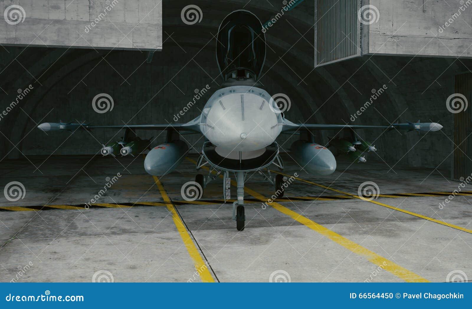 F 16, amerykański militarny samolot szturmowy Militarna baza, hangar, bunkier