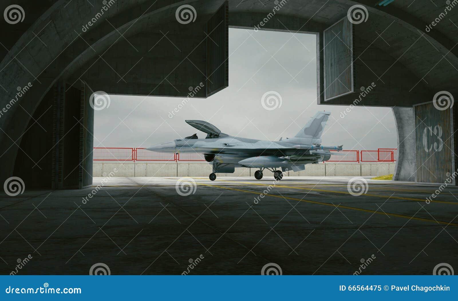 F 16, avião de combate militar americano Base militar, hangar, depósito
