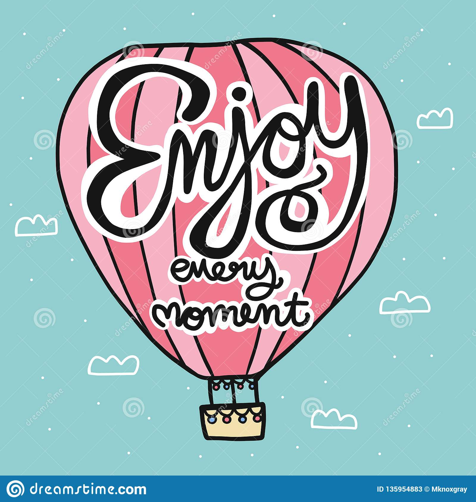 Enjoy every moment lettering word on pink hot air balloon cartoon illustration doodle style