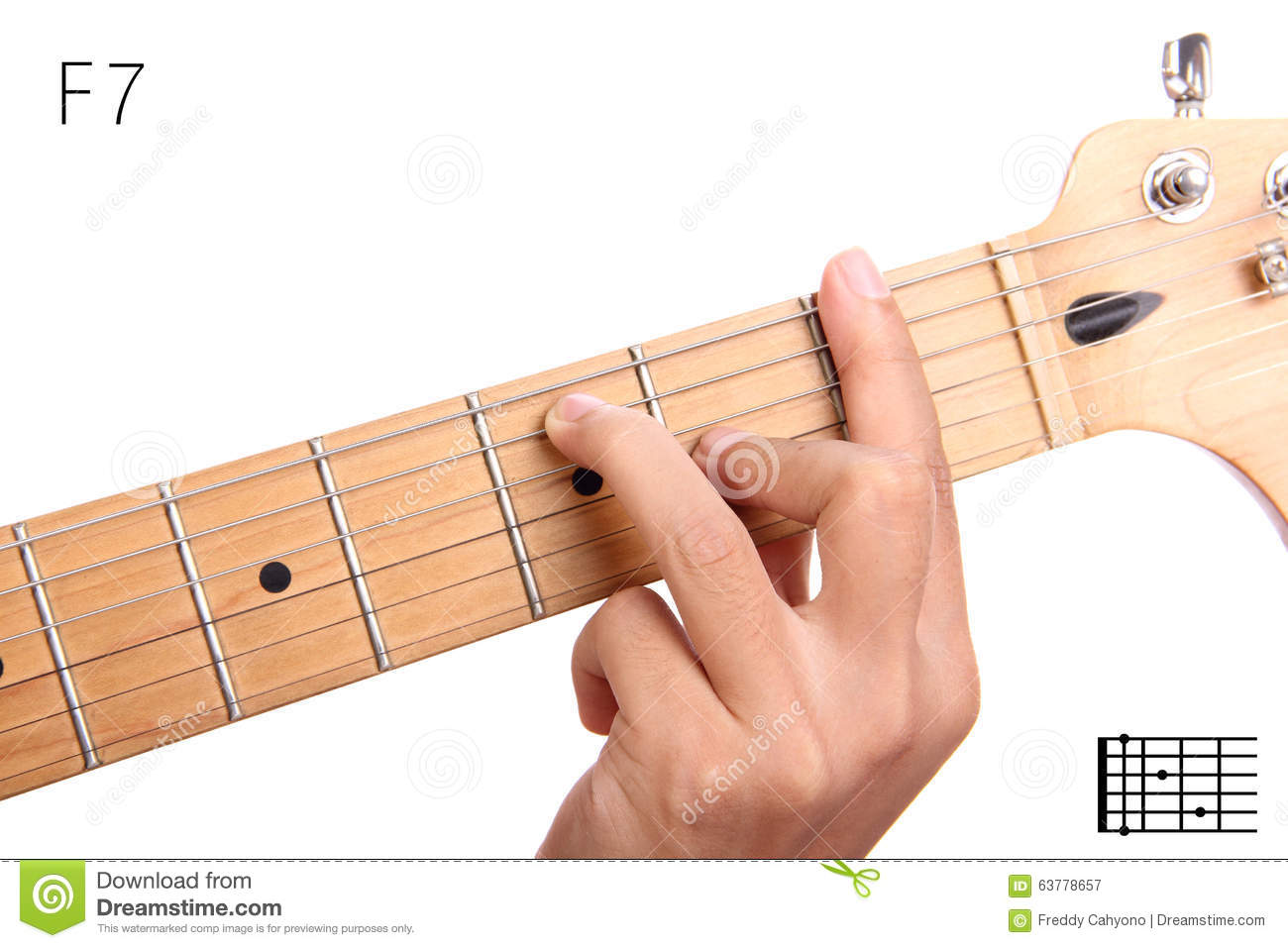 F Dominant Seventh Guitar Chord Tutorial Stock Image Image Of