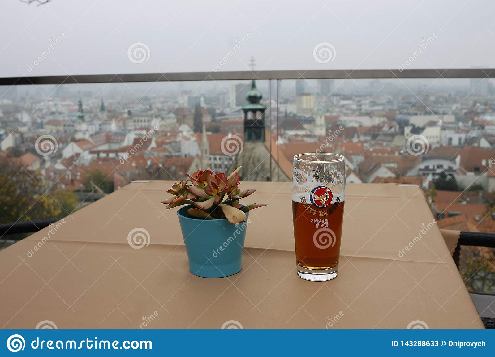 The f glass of beer on wooden table on the cafe in Bratislava castle