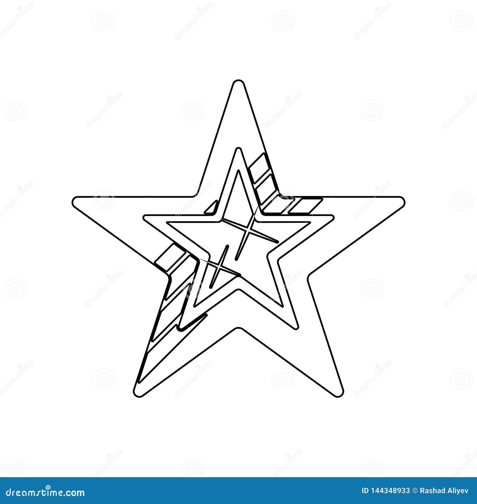 F?nf-spitze Sternikone Element von Sternen f?r bewegliches Konzept und Netz Appsikone Entwurf, d?nne Linie Ikone f?r Websiteentwu