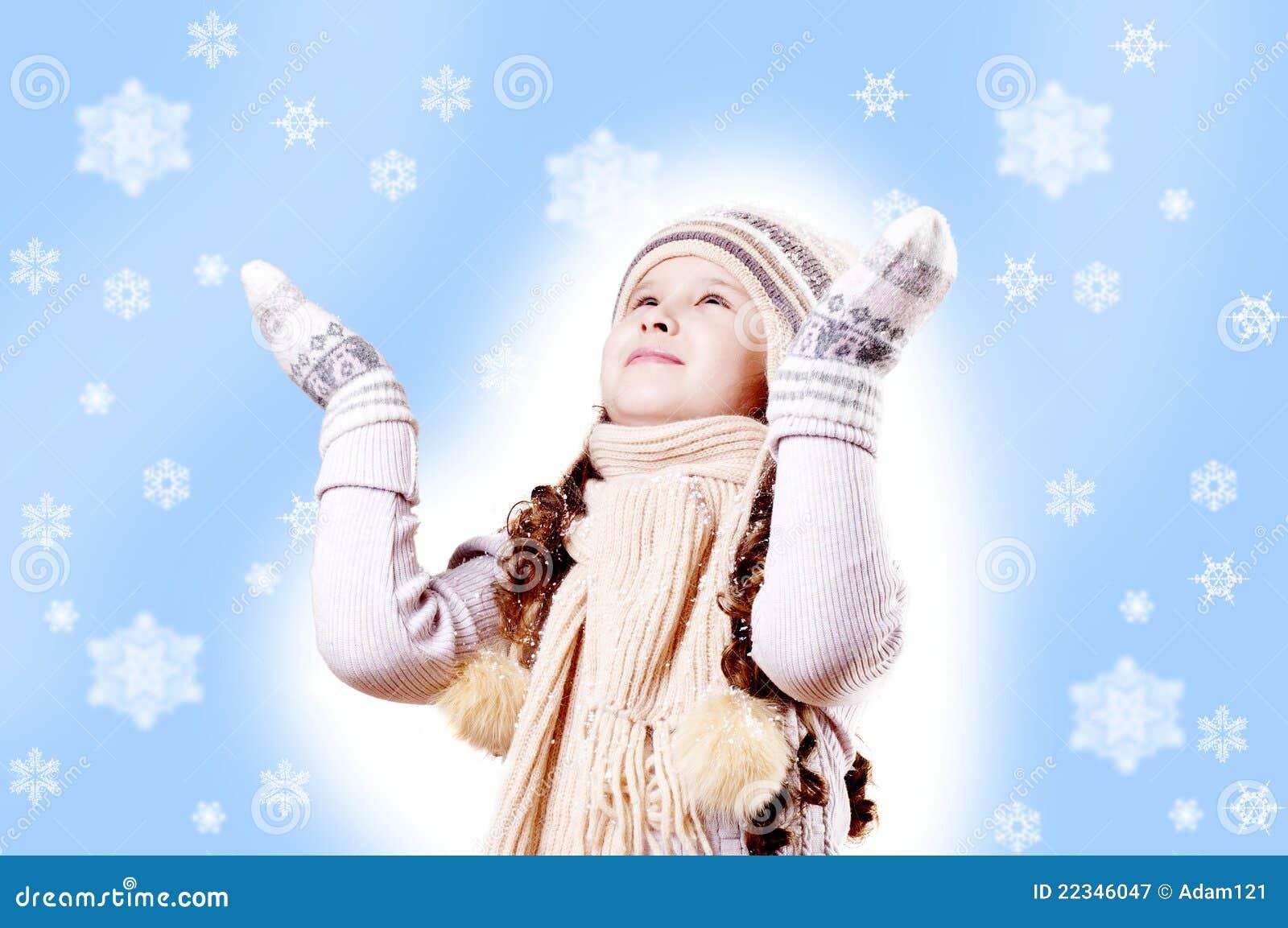 För flakeflicka för bakgrund blå vinter för snow