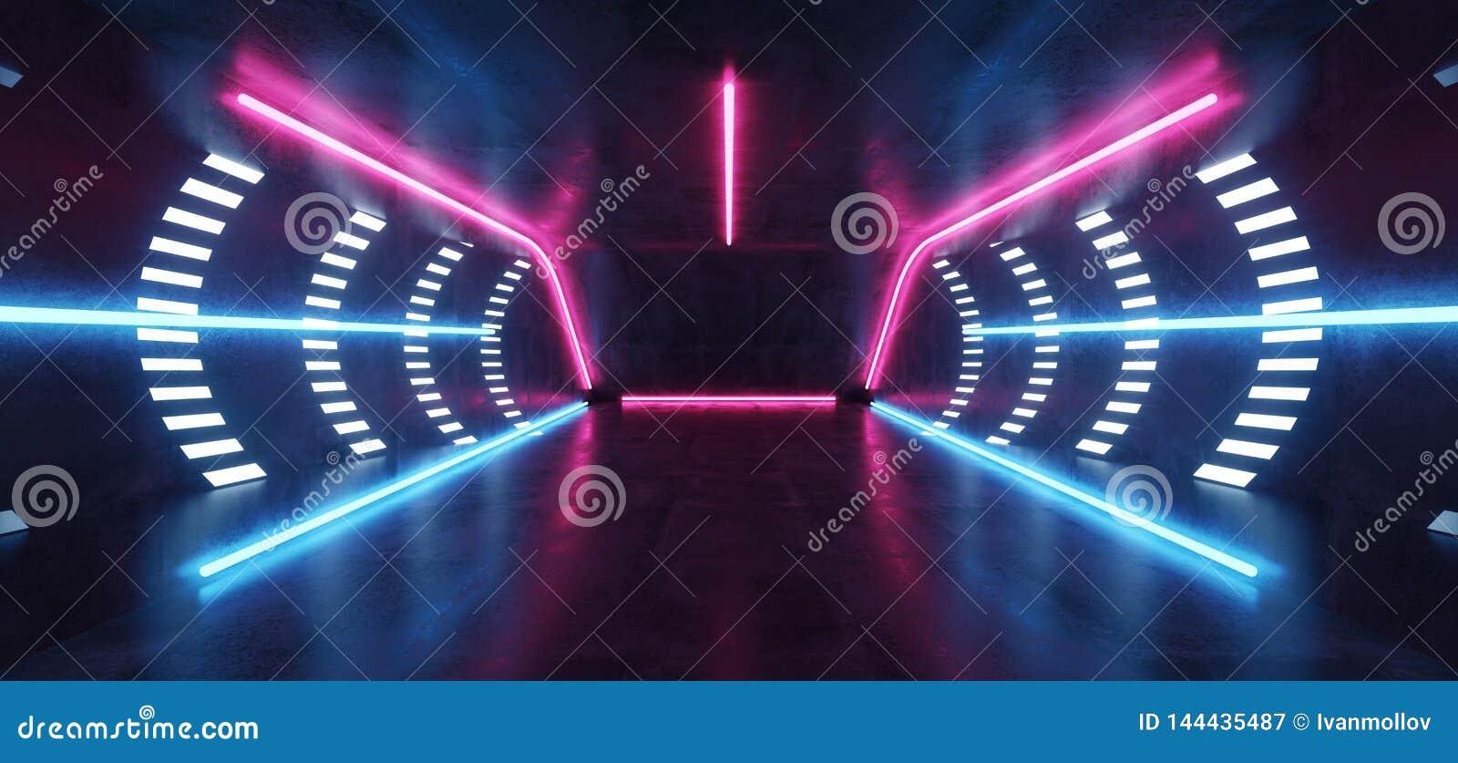 F?r Sci Fi f?r fluorescerande vibrerande neon futuristiskt rum Hall Studio f?r golv f?r Grunge f?r purpurf?rgad bl? virtuell verk