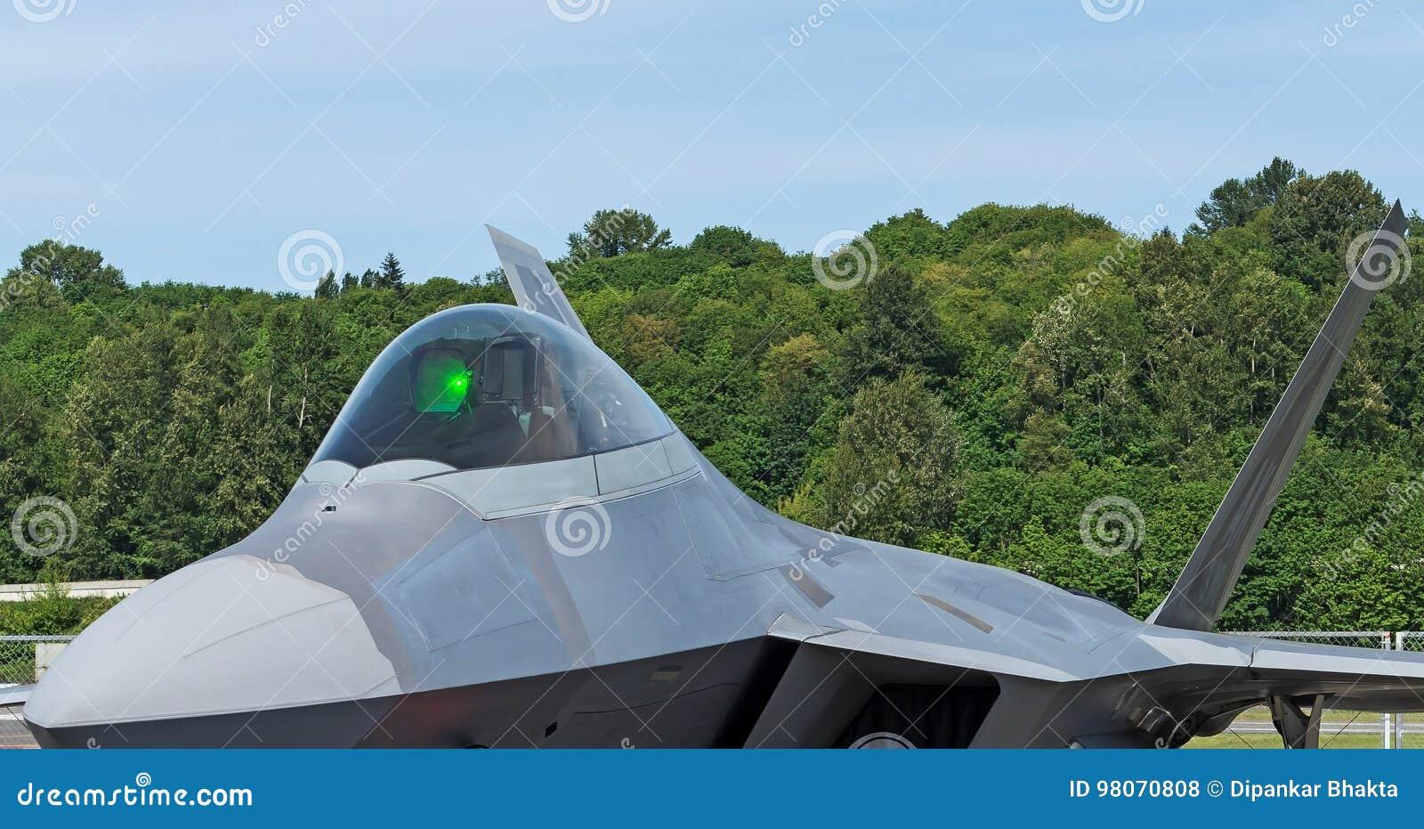 F22 Raptor Headon With Cockpit Closeup Standing In Lush Green Background Stock Photo Image Of Landingetihad Latest 98070808