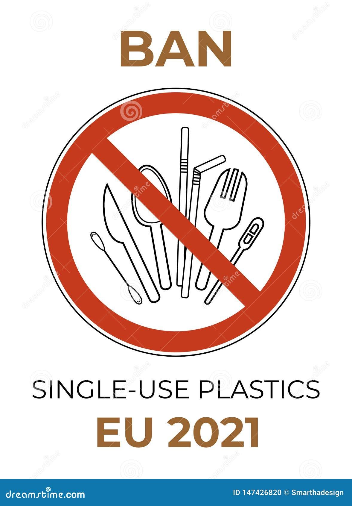 F?rbudteckensked, gaffel, kniv, blandare, sugr?r, bomullsknopp r Plast- uppsättning för förbud