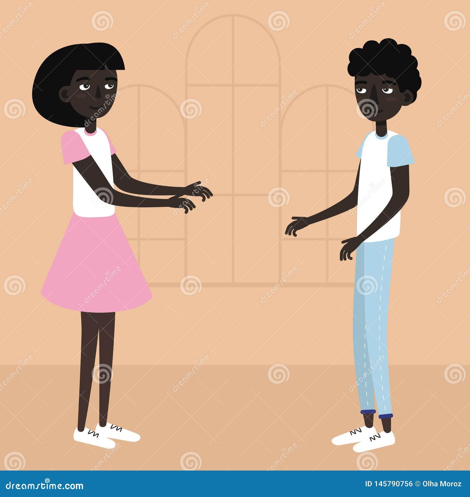 F?rbunden barn Vektorillustration av afrikanska studenter för par