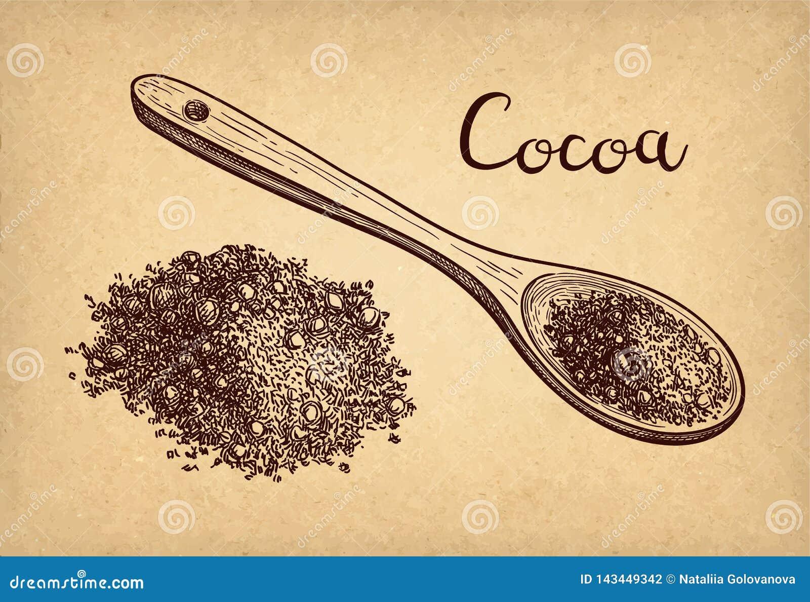 F?rgpulver skissar av kakaopulver