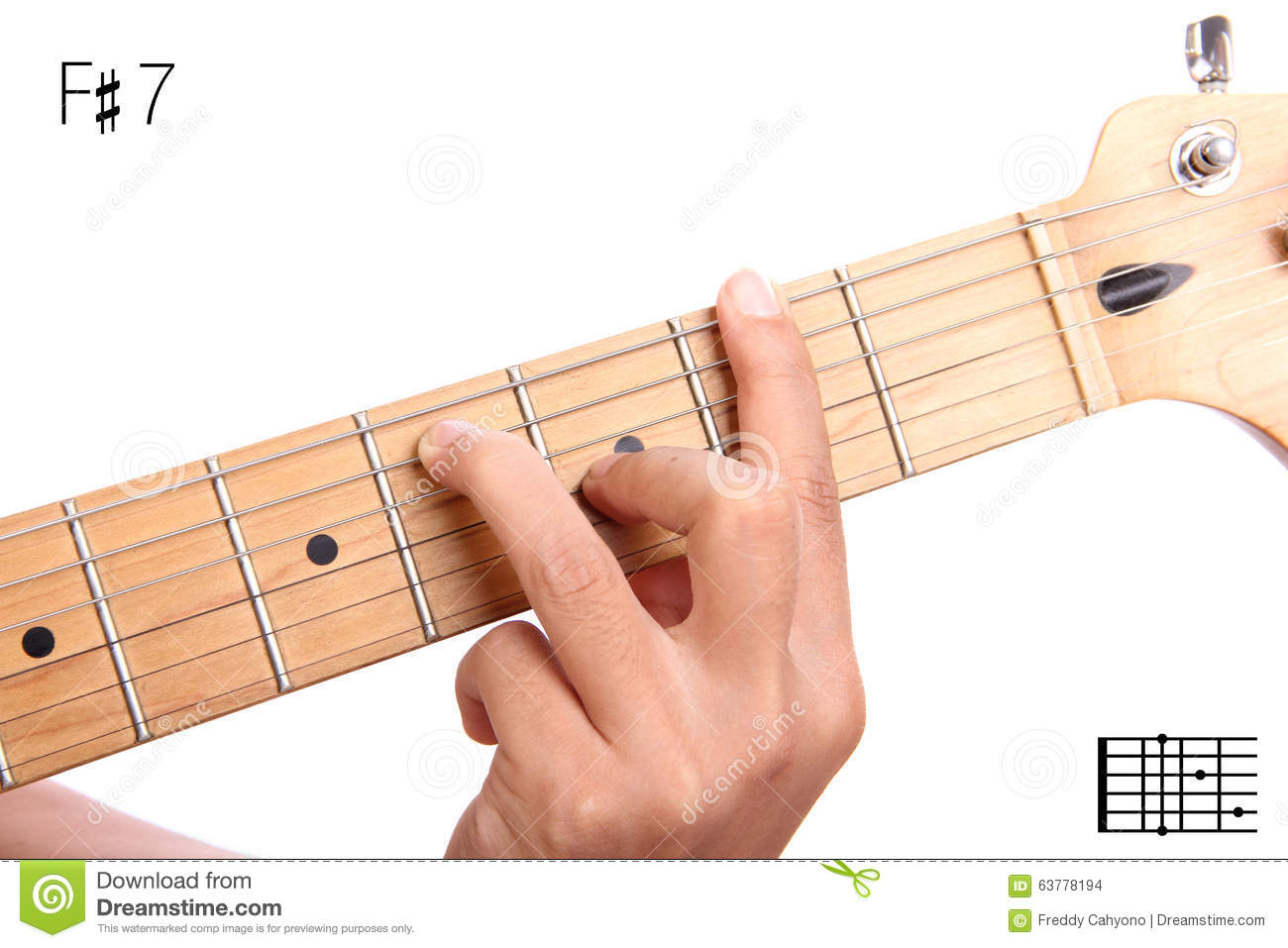 F Sharp Dominant Seventh Guitar Chord Tutorial Stock Photo Image
