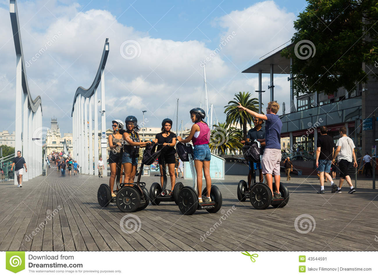 F tourist on Segway Tour at Port Vell. Barcelona