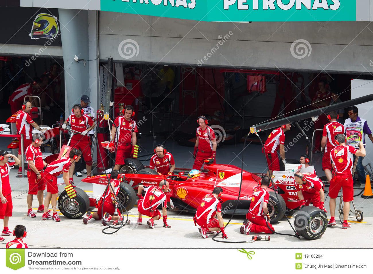 F1 driver Fernando Alonso does a trial pit