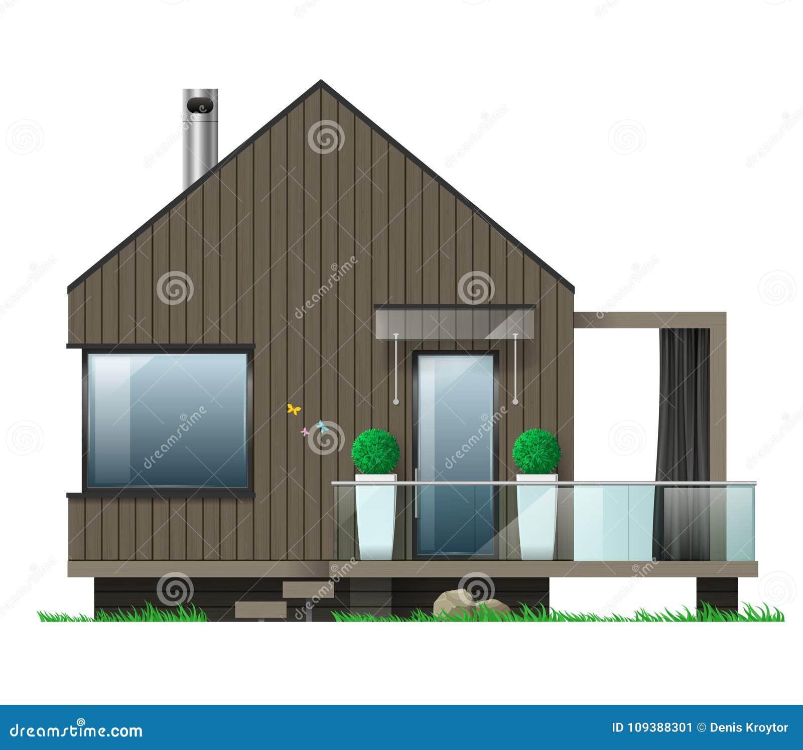 Facade D Une Maison Moderne Avec Une Terrasse Illustration De Vecteur Illustration Du Facade Maison 109388301