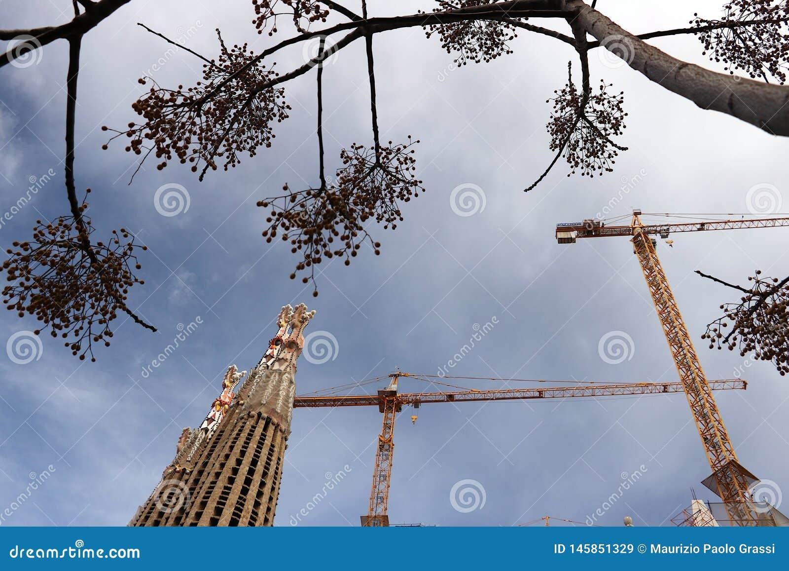 The construction site of the Sagrada Familia originally designed by Antoni Gaudi