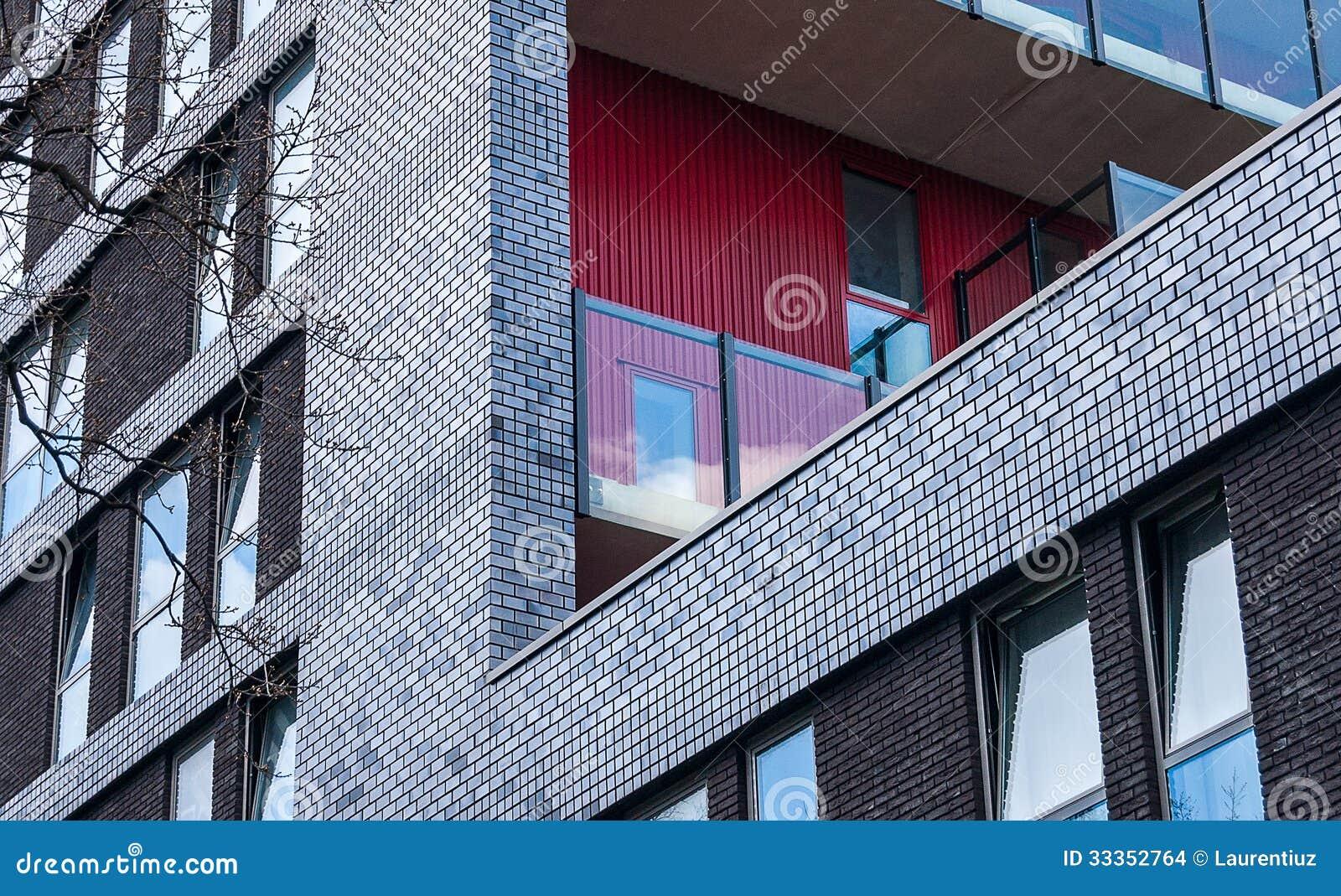 fa ade moderne de brique photo stock image du detail 33352764. Black Bedroom Furniture Sets. Home Design Ideas