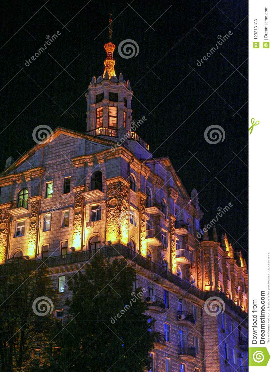 Façade of an old building in Kiev. Architecture of modern Ukraine.