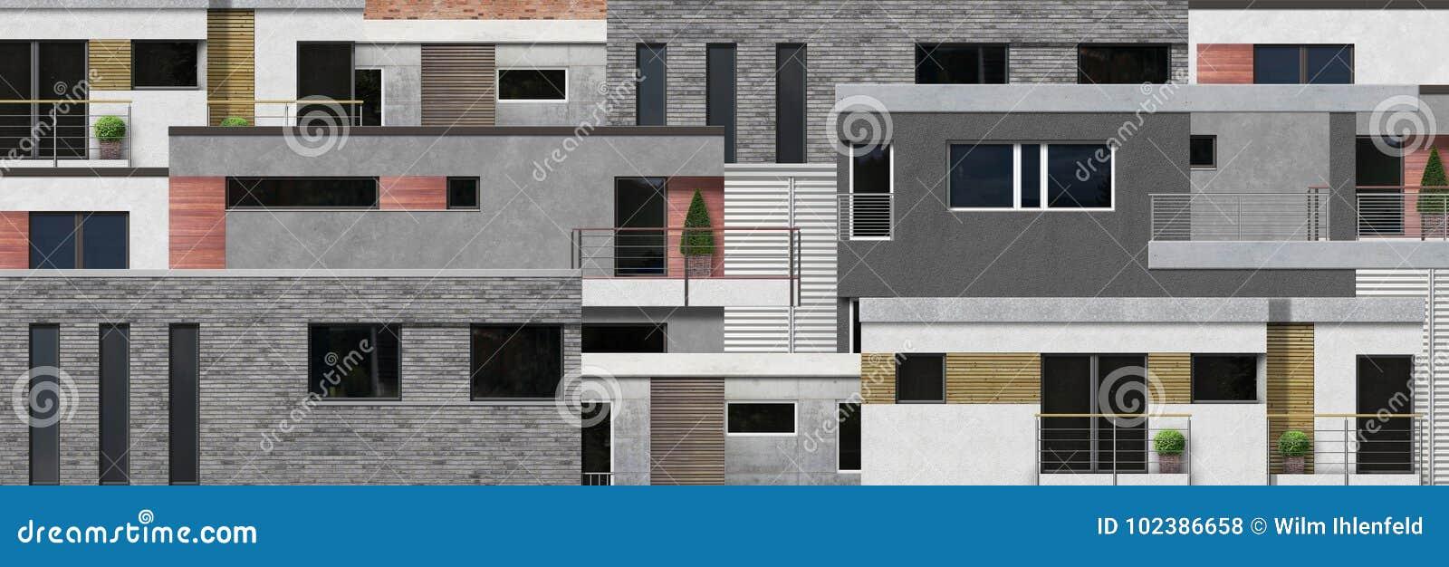 Façades à La Maison Modernes Dans La Vue Frontale ...