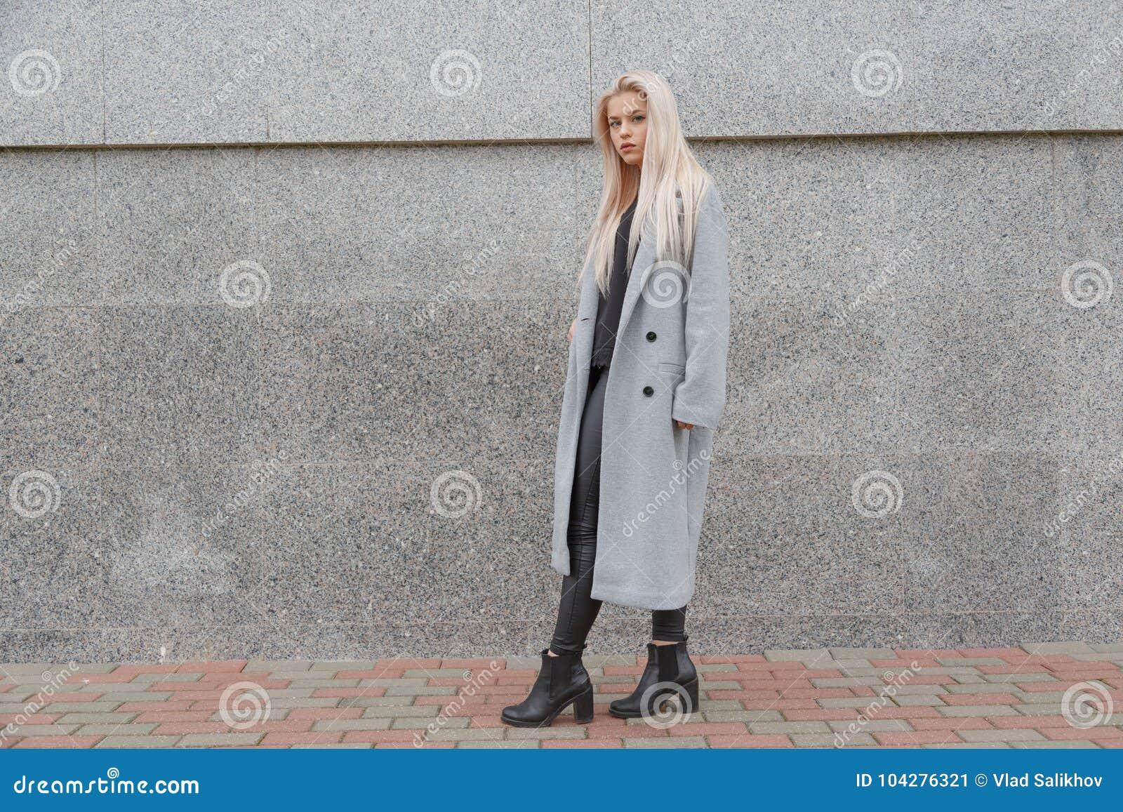 Façonnez à style la jeune femme élégante dans le manteau de fourrure gris marchant à la rue de ville