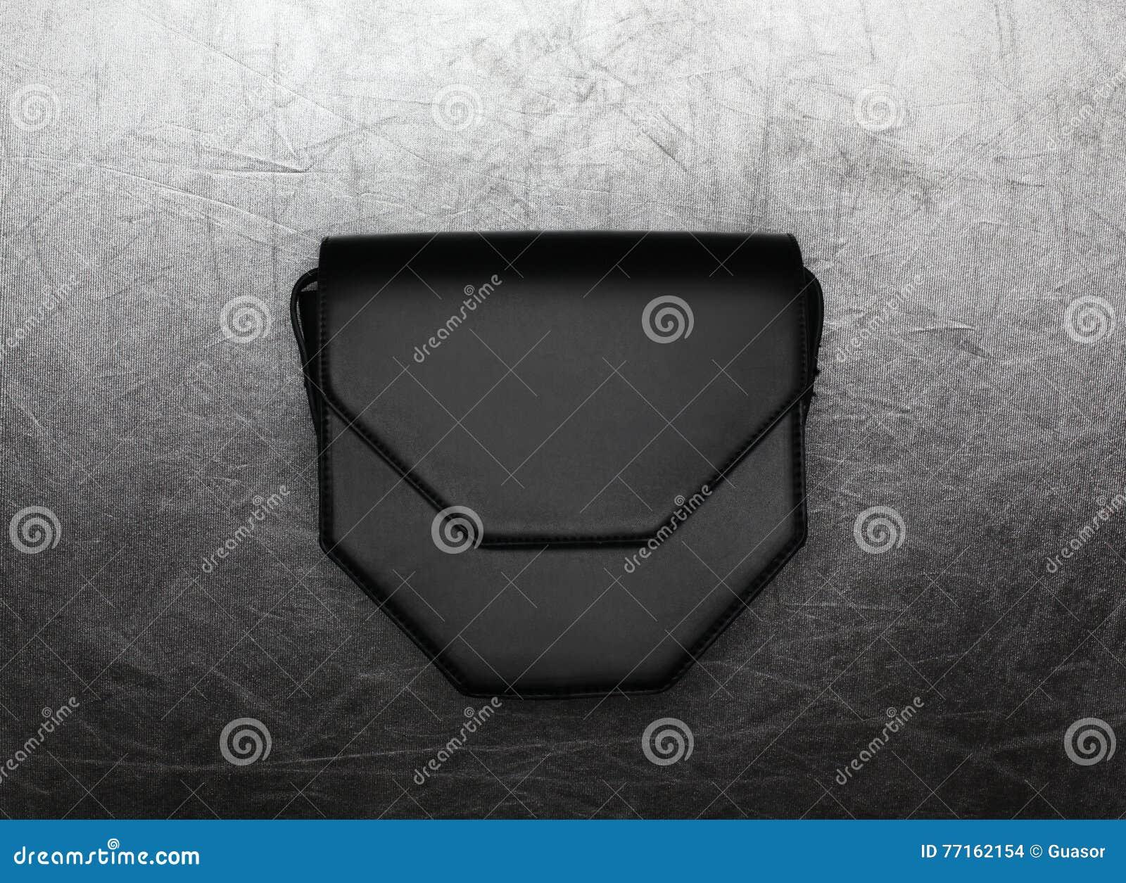 Façonnez l embrayage noir de luxe de sac à main au-dessus de l argent texturisé