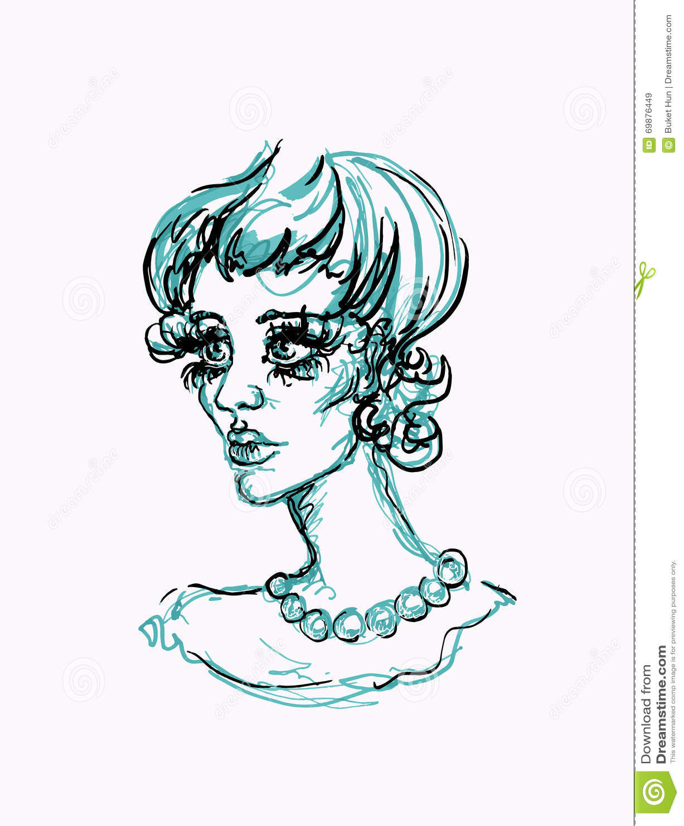 femme avec collier dessin