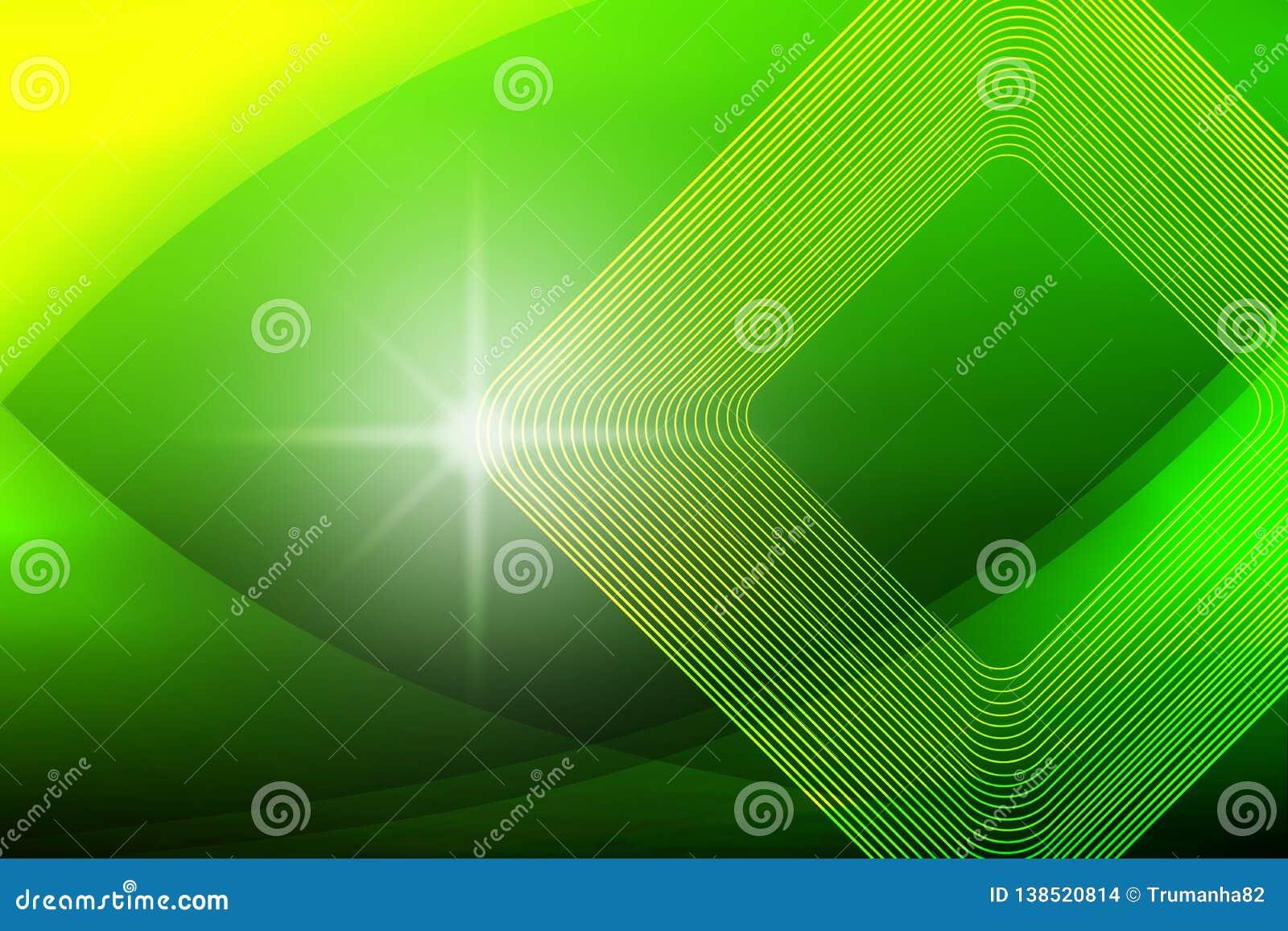 Faísca brilhante, formas quadradas e curvas no verde borrado e no fundo amarelo