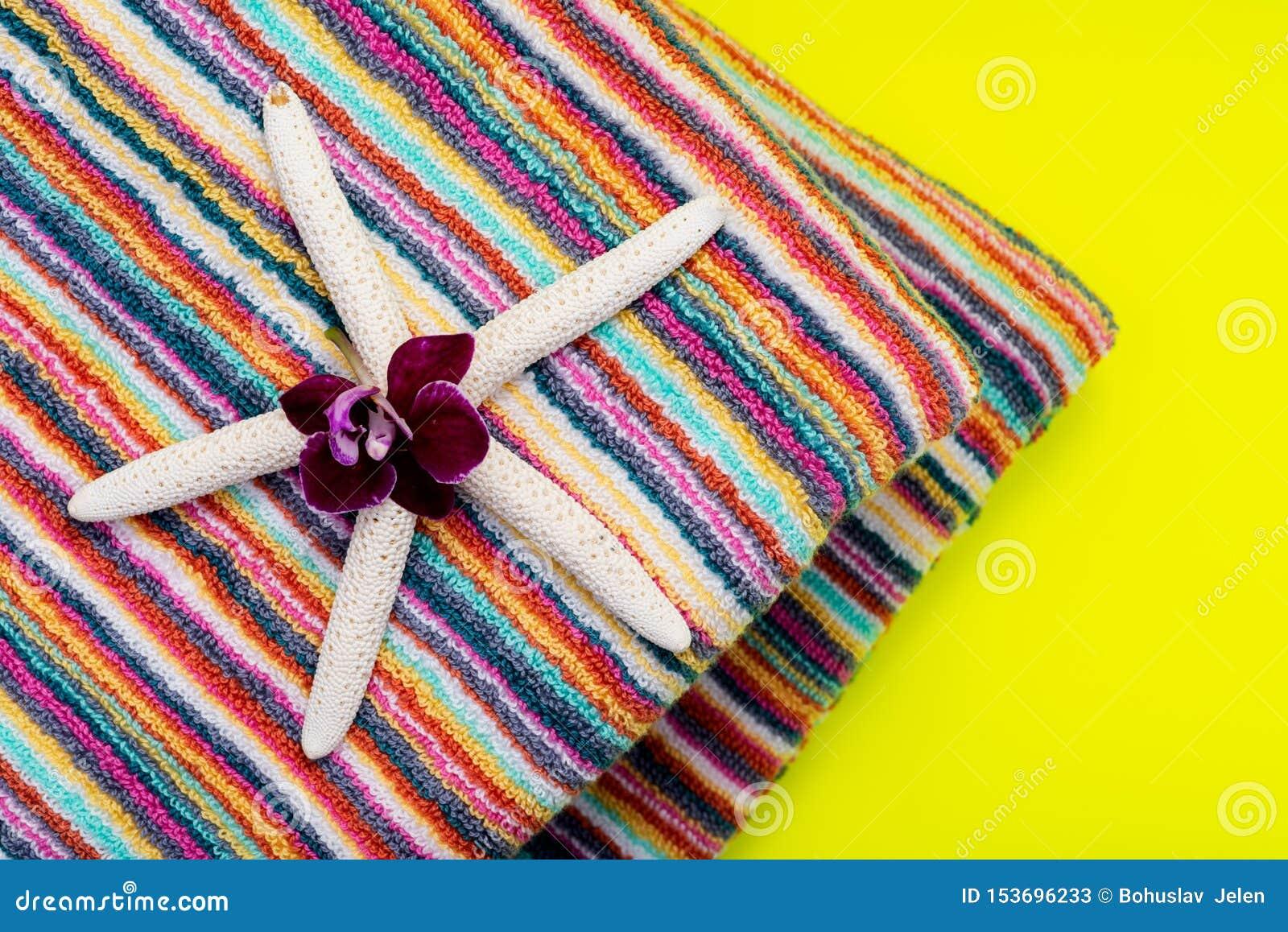 Fałdowi Kolorowi Pasiaści Organicznie Bawełniani Plażowi ręczniki dekorujący z Białego palca rozgwiazdą i Storczykowym kwiatem na