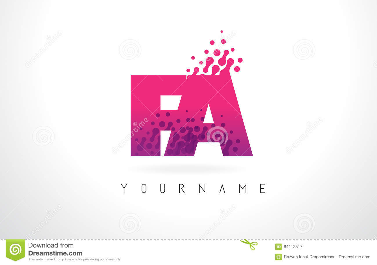 FA F A Letter Logo With Pink Purple Color And Particles Dots Des ...