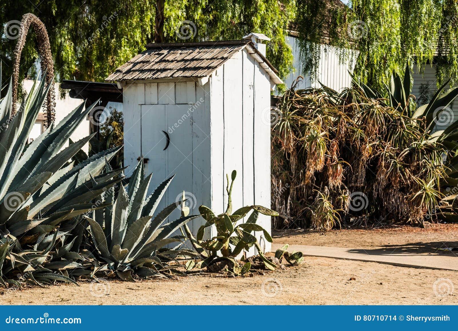 Fabbricato annesso bianco con le piante del cactus in giardino