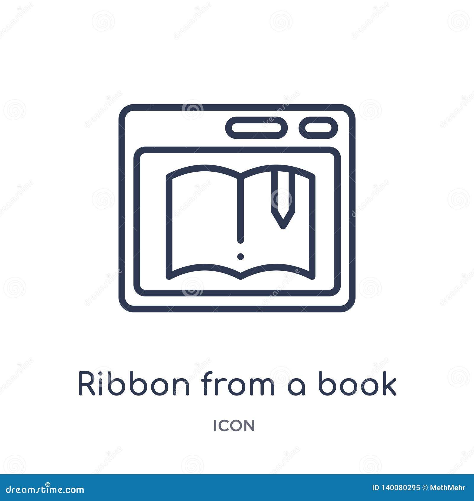 Faborek od książkowej ikony od książkowej ikony od interfejs użytkownika konturu kolekcji Cienieje kreskowego faborek od książkow
