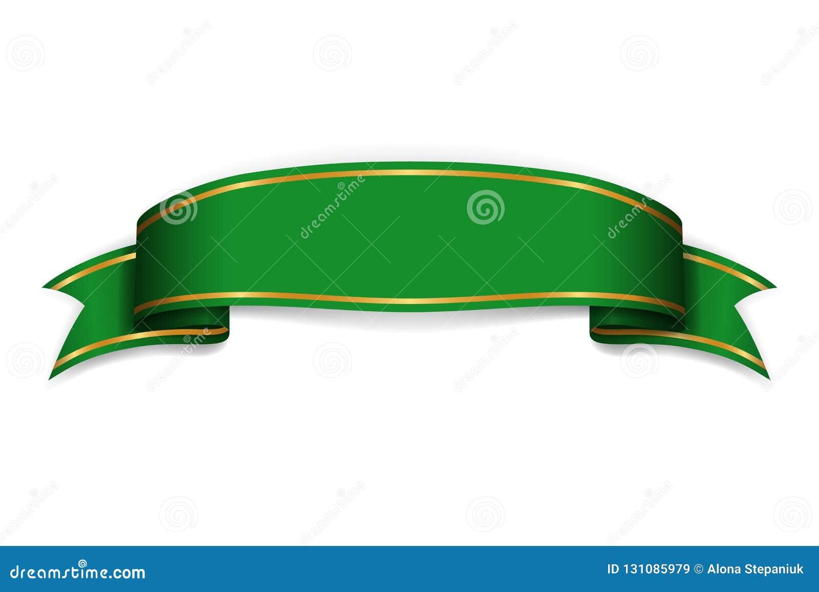 Faborku zielony sztandar Szyldowa atłasowa pusta promocja, sieć, reklamowy sztandar Błyszczący tasiemkowy ślimacznica projekta de